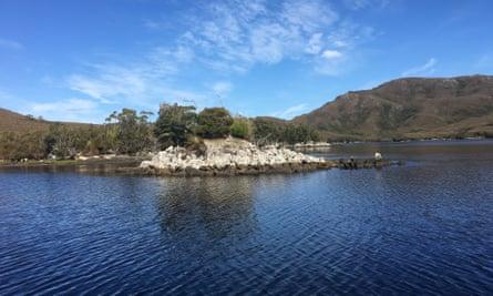 Tannin lake at Port Davey Marine Reserve