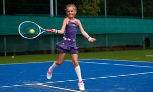 Seven-year-old Saskia on court.