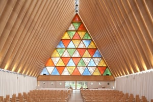 Shigeru Ban's Transitional Cathedral, made primarily of cardboard after the earthquake in Christchurch, New Zealand.
