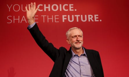 Corbyn waves after making his inaugural speech on 12 September.