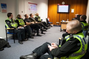 Police officers at Cardiff Central Police Station