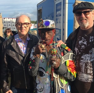 """Steve Barker, right, with reggae icons David Rodigan and Lee """"Scratch"""" Perry."""