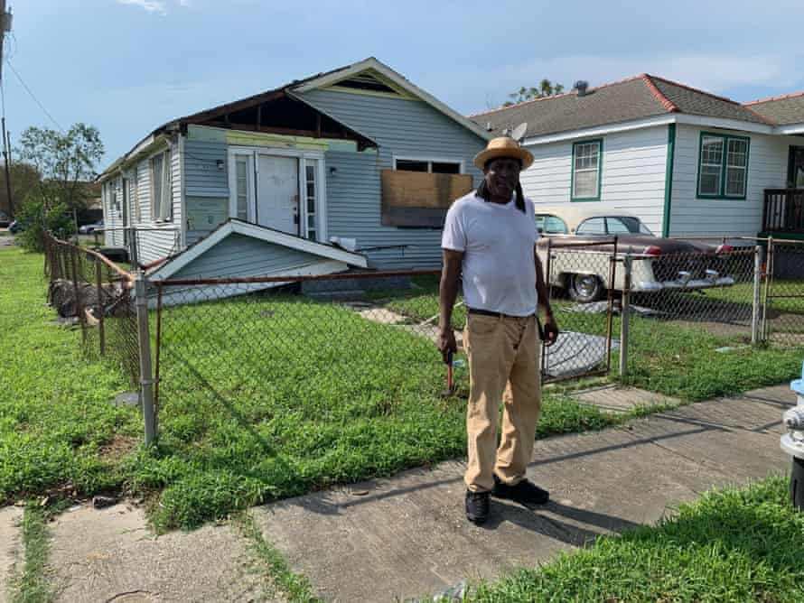 Kevin Johnson outside his home in the lower ninth ward of New Orleans after Hurricane Ida swept through.