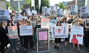 Campaigners at a rally in Belfast last month calling for abortion rights in Northern Ireland.