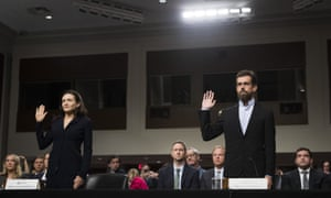 Twitter's chief executive, Jack Dorsey, and Facebook's chief operating officer, Sheryl Sandberg, testify before Congress on Wednesday.