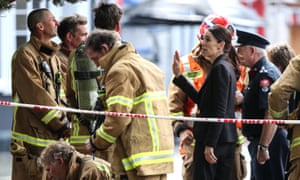 New Zealand prime minister Jacinda Ardern meets some of the firefighters.