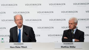 Volkswagen press conference<br>epa05063283 Volkswagen AG CEO Matthias Mueller (R) and Hans Dieter Poetsch (L), chairman of the Volkswagen AG supervisory board, attend a press conference of the company in Wolfsburg, Germany, 10 December 2015. VW is briefing journalists on the current state of developments and reshuffling of the company after the recent scandal in a press conference. EPA/JULIAN STRATENSCHULTE