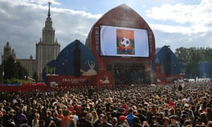 A Fifa fan park opens outside the Luzhniki Stadium in Moscow. The Russian capital will host the opening game of the 2018 World Cup – and the Fifa congress that will decide the 2026 hosts.
