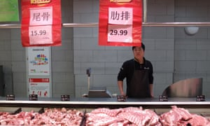 A supermarket pork counter in Beijing. High pork prices pushed China's inflation rate to 3.8% last month.