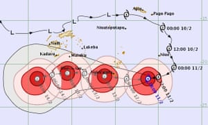 A map showing the projected path of Cyclone Gita