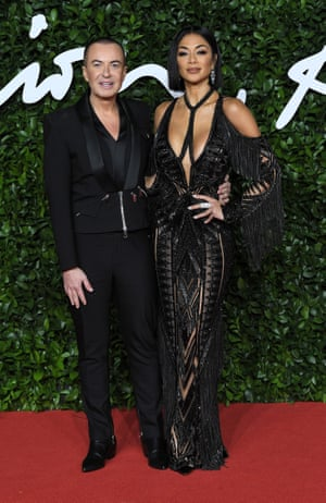 The designer Julien Macdonald with the singer Nicole Scherzinger, who wore one of his dresses