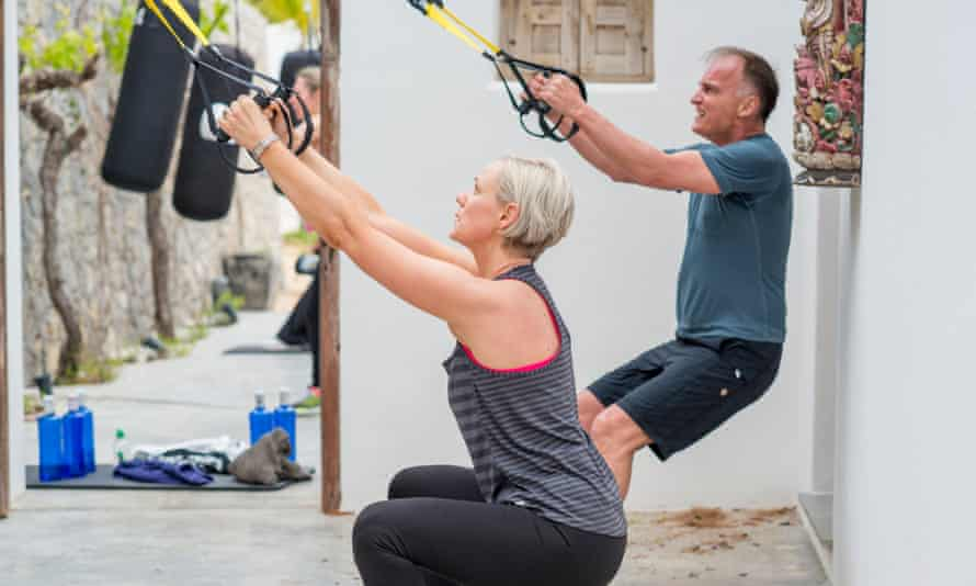 Two people working out outdoors