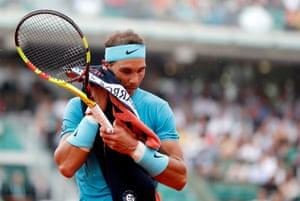 Nadal, not finding it easy today against Schwartzman.
