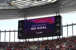 A goal scored by Reiss Nelson of Arsenal is checked and later disallowed by VAR.
