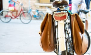 Bicycle with brown leather panniers