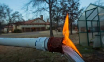 Methane gas flares up at a fracking site in Texas.