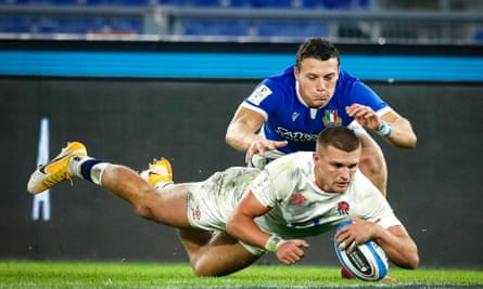 Henry Slade scores a try against Italy in the Six Nations in October and is likely to be a key figure for England in the Autumn Nations Cup.