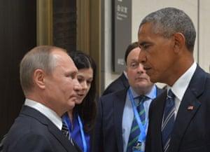 俄罗斯总统弗拉基米尔·普京在杭州举行的G20领导人峰会期间会见了美国总统巴拉克·奥巴马。