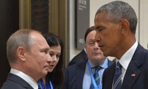 Vladimir Putin meets Barack Obama at the G20 Leaders Summit in Hangzhou on 5 September 2016