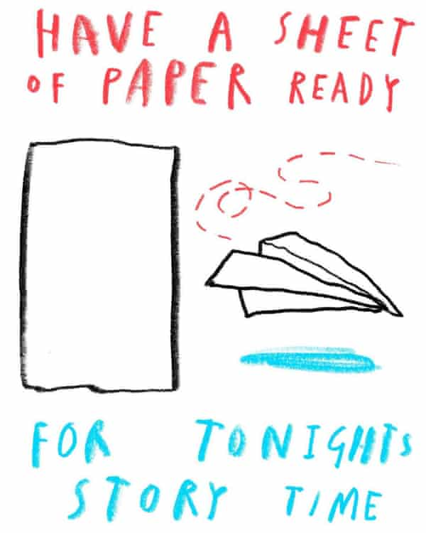 A paper craft activity, illustrated by Oliver Jeffers, who is hosting children's workshops on Instagram. It reads 'Have a sheet of paper read for tonight's story time' and shows a piece of paper and a paper plane.
