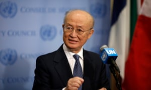 Yukiya Amano, director general of the International Atomic Energy Agency (IAEA), speaks to journalists after a UN security council meeting on supporting the Non-proliferation Treaty in New York this week.