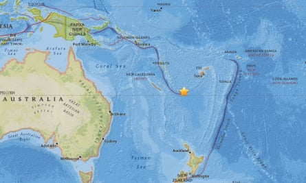 Screengrab image showing the site of a 7.6-magnitude earthquake near Vanuate on Friday 12 August 2016.