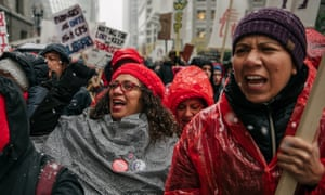 Thousands marched through the streets near City Hall on Thursday.