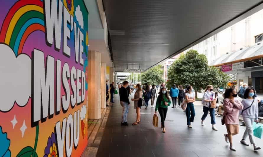 A large 'We've Missed You' sign at David Jones in Melbourne