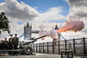 A 103 round gun salute by the Honourable Artillery Company at HM Tower of London is fired at midday