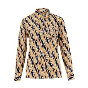 geometric patterned shirt brown white black