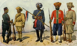 An illustration of representatives from Indian regiments fighting to the British in the first world war.