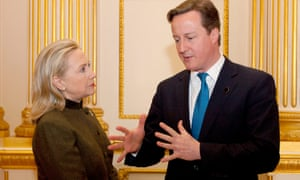 David Cameron talks to Hillary Clinton during the Somalia Conference at Lancaster House in February 2012.