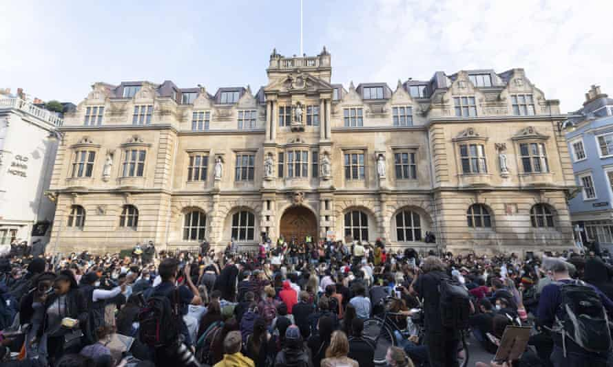Demonstrators taking part in a protest outside Oriel college in Oxford on Tuesday.