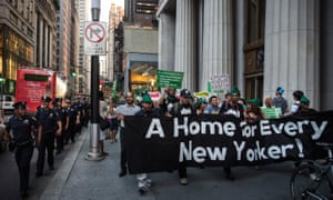 Activists demonstrate for affordable housing in New York.