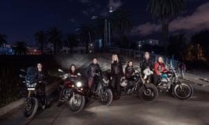Members of Les Miss Moto Maroc all-female motorbike club in Casablanca, Morocco.