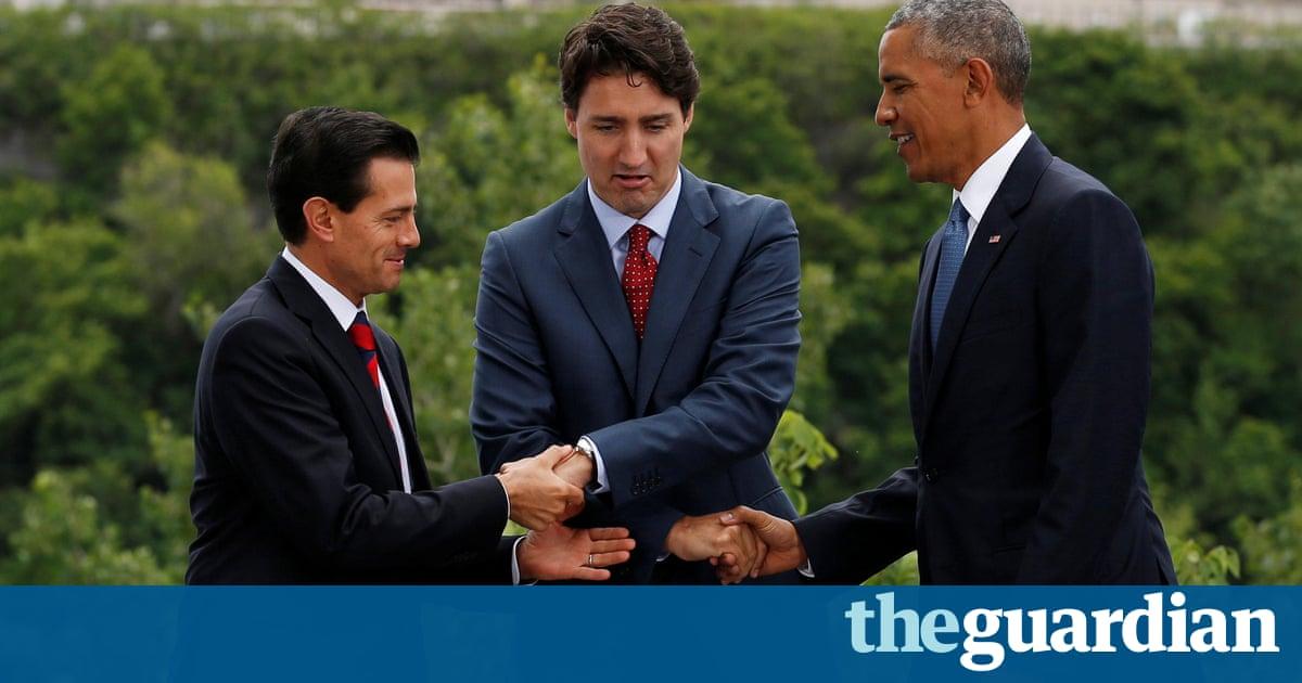 Obama, Trudeau and Peña Nieto share awkward three-way handshake – video