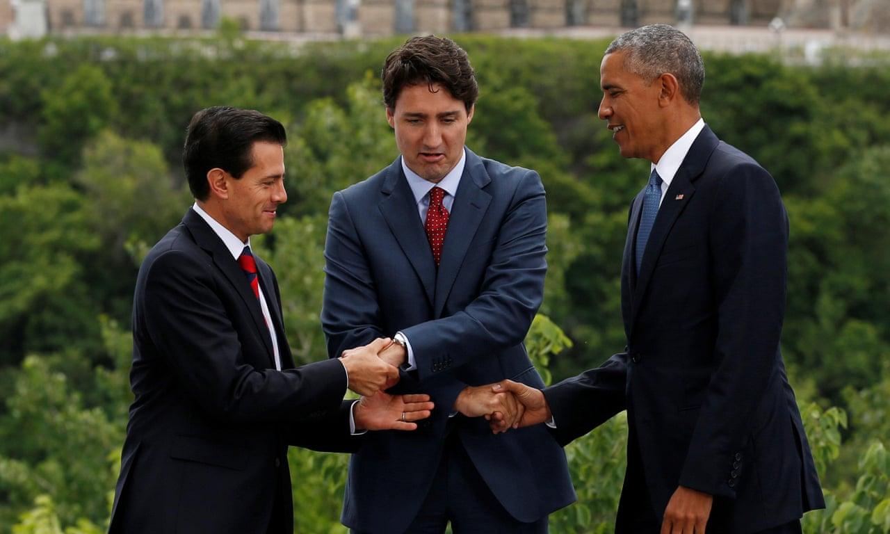 Obama Trudeau And Pea Nieto Share Awkward Three Way Handshake