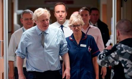 Boris Johnson tours a hospital