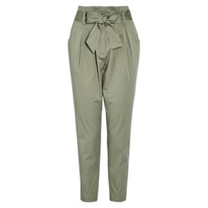 Green tie waist trousers