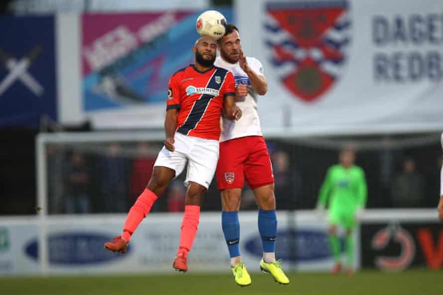 James Comley (left) playing for Maidenhead against Dagenham & Redbridge this season.