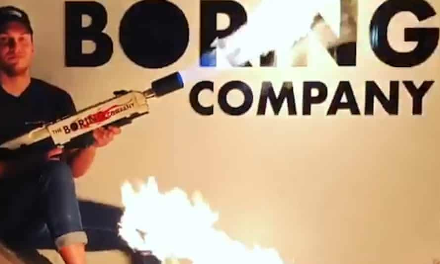 Still from Elon Musk's Instagram video apparently plugging a $500 flamethrower.