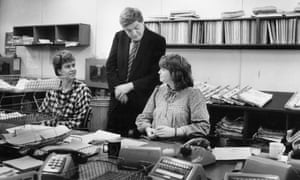 The editor at the helm in the Guardian newsroom in 1984.