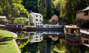 The boathouse cottage and wharf at Llanfoist on the Monmouthshire and Brecon canal near Abergavenny.