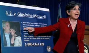 The acting US attorney for the southern district of New York, Audrey Strauss, speaks during a news conference to announce charges against Maxwell on 2 July.