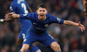 Chelsea's Jorginho looking stressed.