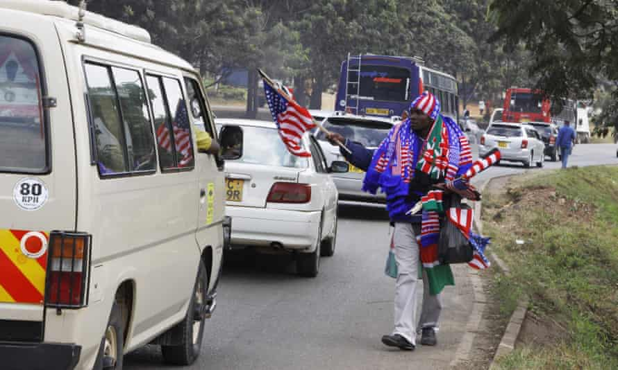 There has been a brisk trade in American and Kenyan flags in Nairobi