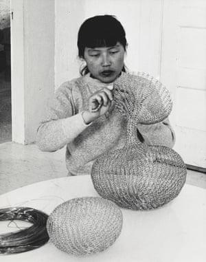 Ruth Asawa at work.