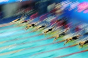 The swimmers dive in to start the women's 200m butterfly semi-final at the World Swimming Championships.