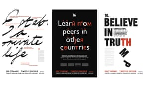 Three of Timothy Snyder's 20 On Tyranny posters.