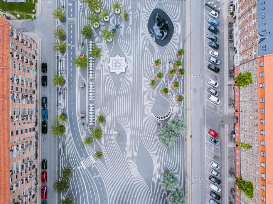 Aerial shot of Superkilen Park, Copenhagen, Denmark.